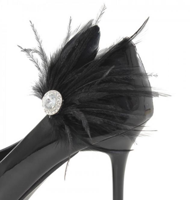 shoe clips plumes noires